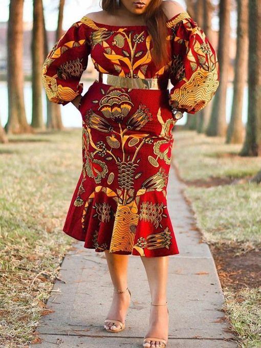 $29.99 Dresswe.com SUPPLIES Mid-Calf Off Shoulder Long Sleeve Print Mermaid Elegant Womens Dress