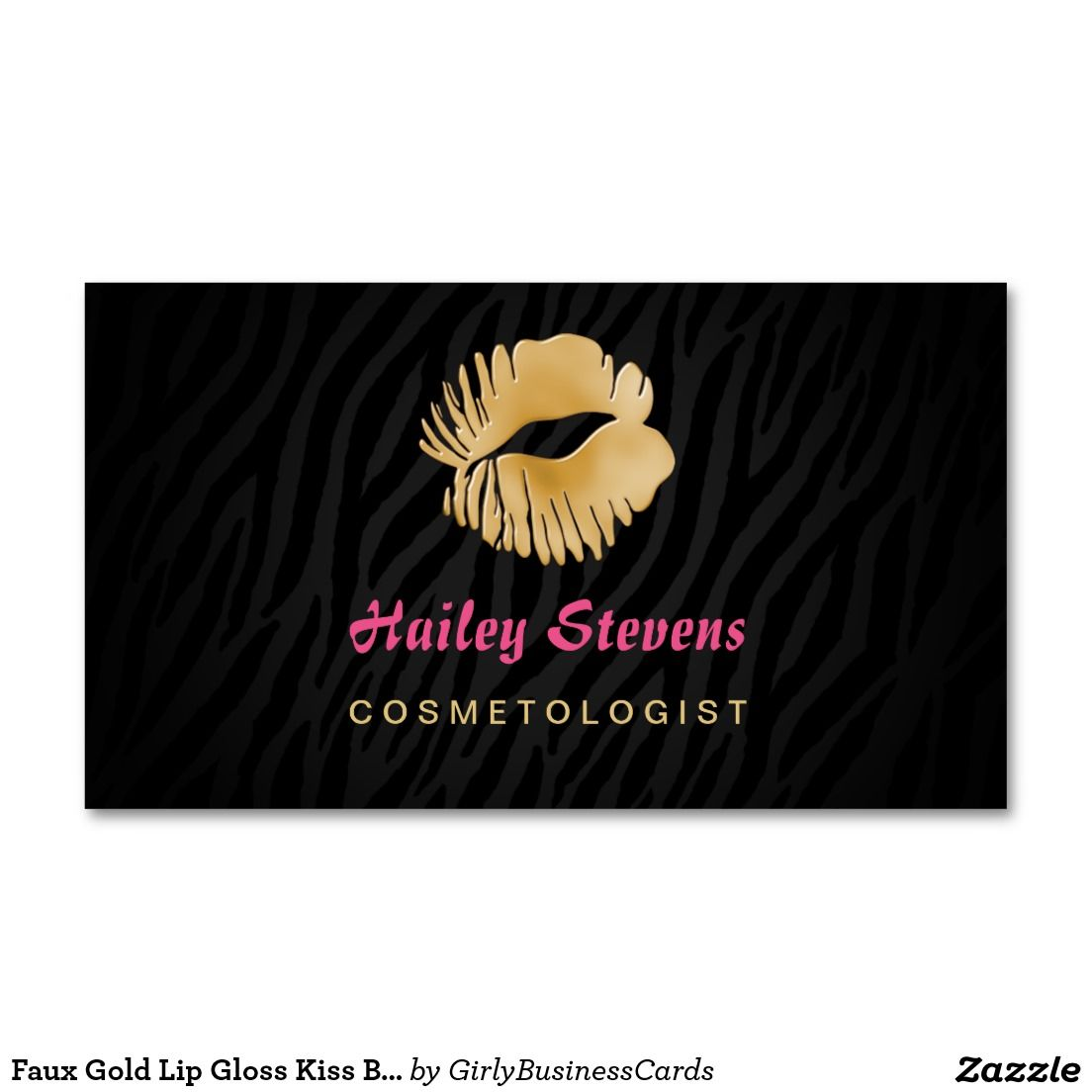 Glamorous black and gold cosmetology business cards with hot pink ...