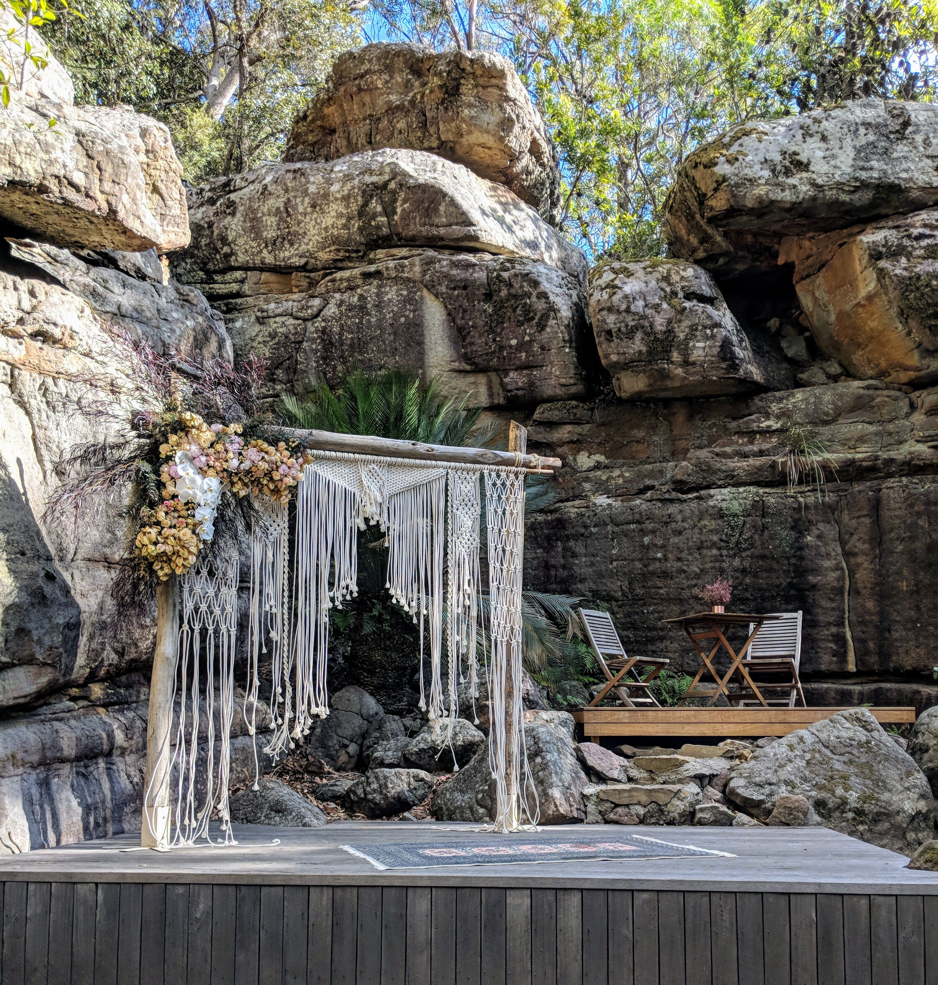 Wedding Alter Goals Beautiful Macrame Arch In Our Stunning Rock Cathedral Get Married In Kangaroo V Stunning Wedding Venues Wedding Aisle Decorations Wedding