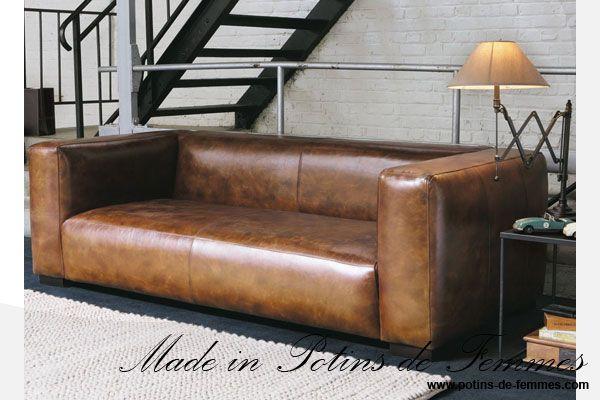 Le canapé john de maisons du monde en cuir dans les tons marron