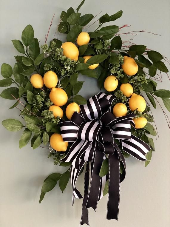 Photo of The Laurel lemon wreath for front door~Spring wreath for front door~kitchen wreath~fruit wreath~mothers day gift~housewarming gift with bow
