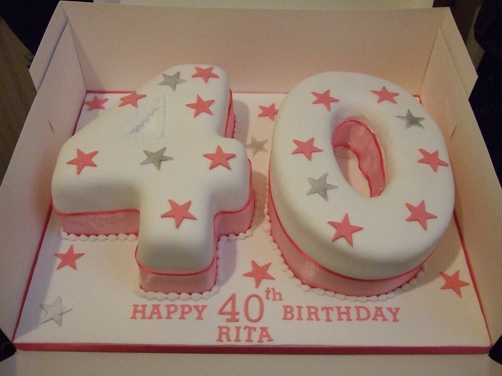 Pink silver 40th birthday cake 40 birthday cakes 40 for 40th birthday cake decoration