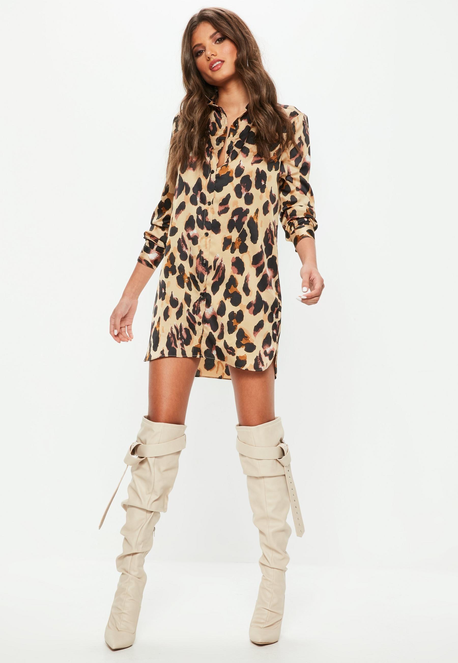 0a7c4814095 Missguided Brown Leopard Print Satin Shirt Dress