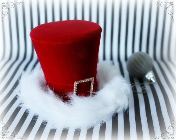 Holiday Hat Christmas Hat Holiday Party Hat Red Mini Top