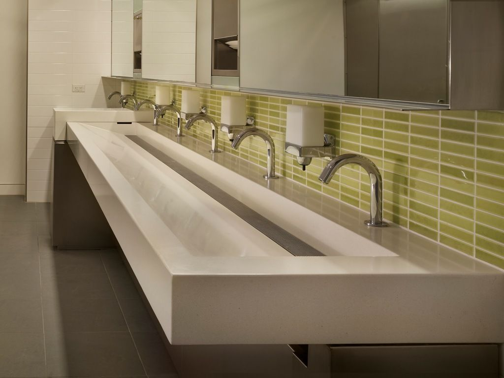 200 fifth ave trough sink office space pinterest for Washroom bathroom designs