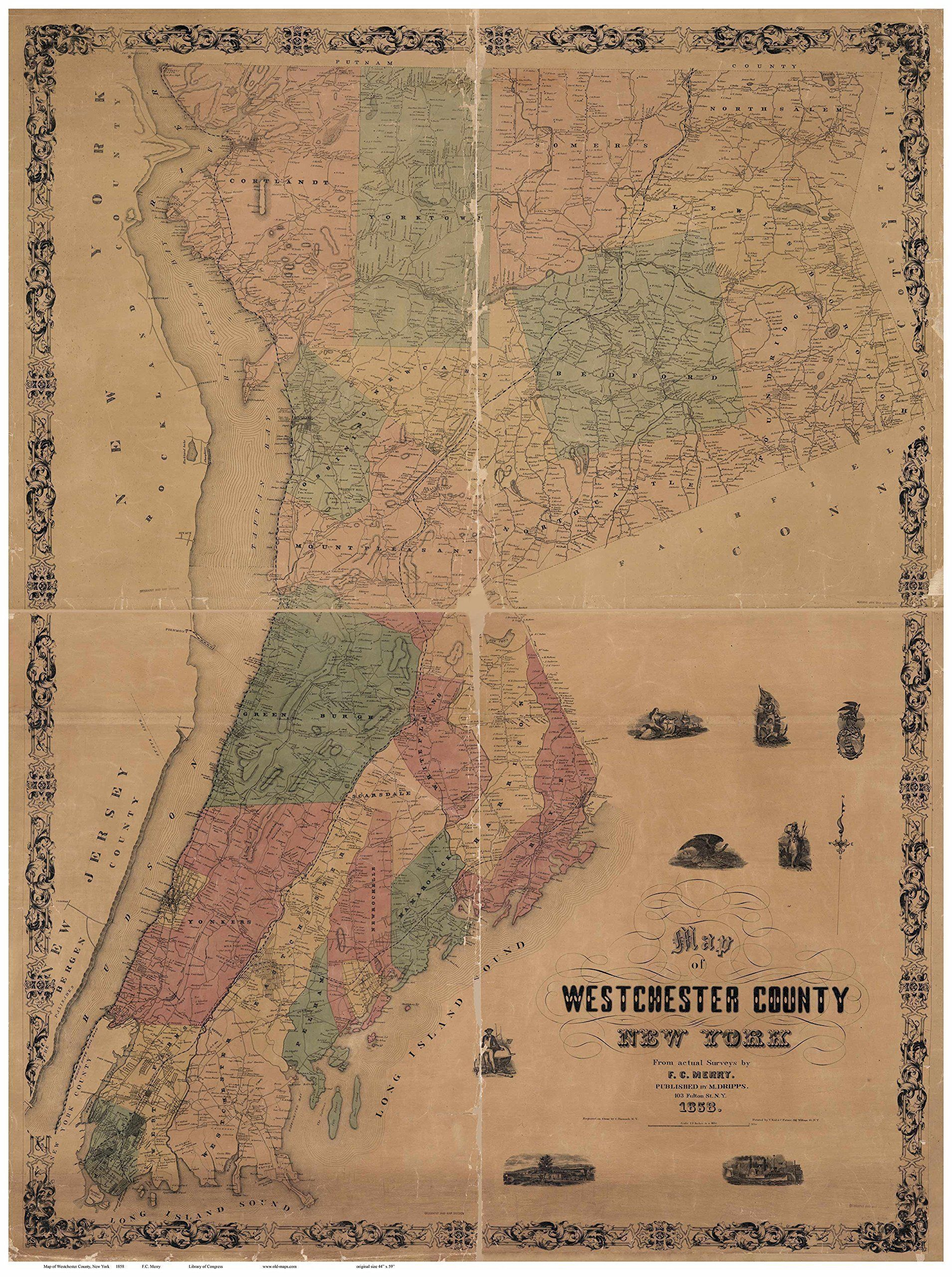 Westchester county new york wall map reprint with homeowner
