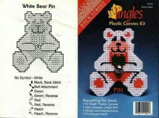 White Teddy Magnet Pin Plastic Canvas Patterns Plastic