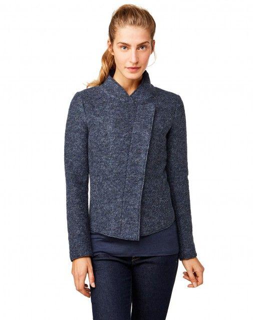 vasta selezione di 59e14 5ff0a Giacca sfiancata in misto lana cotta con collo a fascetta e ...