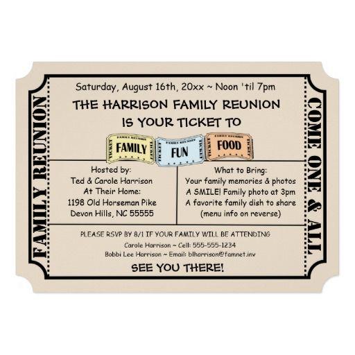 Fun Ticket Cut Family Reunion Invitation Greeting Cards - invitations for family reunion