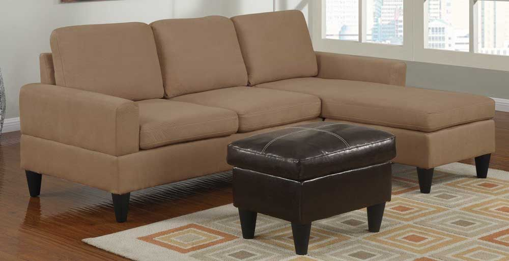 Saddle Tan Microfiber Small Sectional Sofa With Reversible Chaise And Ottoman