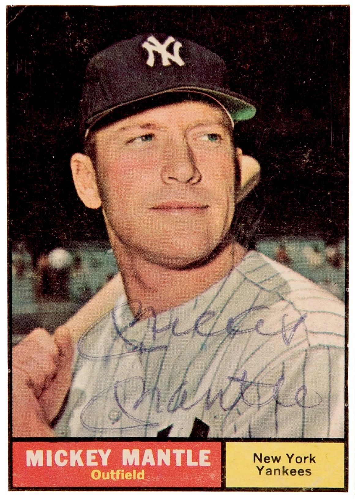 Mickey Mantle Topps 1961 Very Sentimental Card My Bro Gave This Same Card Signed To My Dad Love Baseball Cards Mickey Mantle Baseball Trading Cards