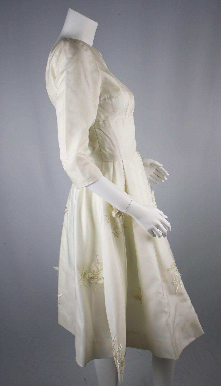 60s wedding dress   OFF FLASH SALE  usEarly us Vintage Ivory Flower Applique