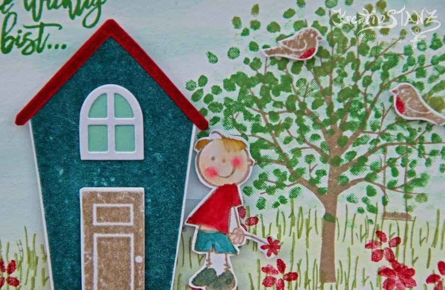 Schiebekarte Junge Ein Haus für alle Fälle Baum der Freundschaft Stampin' Up! KreativStanz