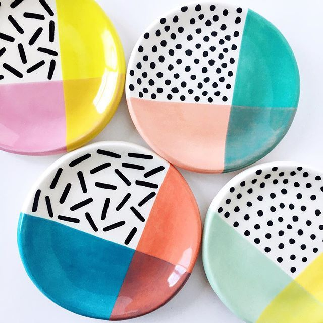 Made some round ring dishes in my color block patterned