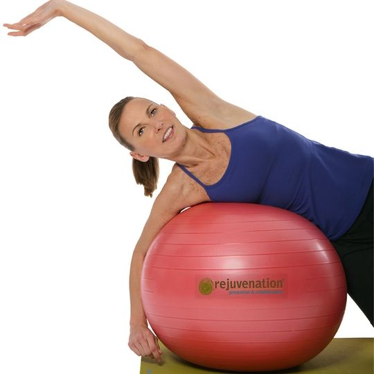 Lean on this stability ball against a wall to do easier squats with perfect form.