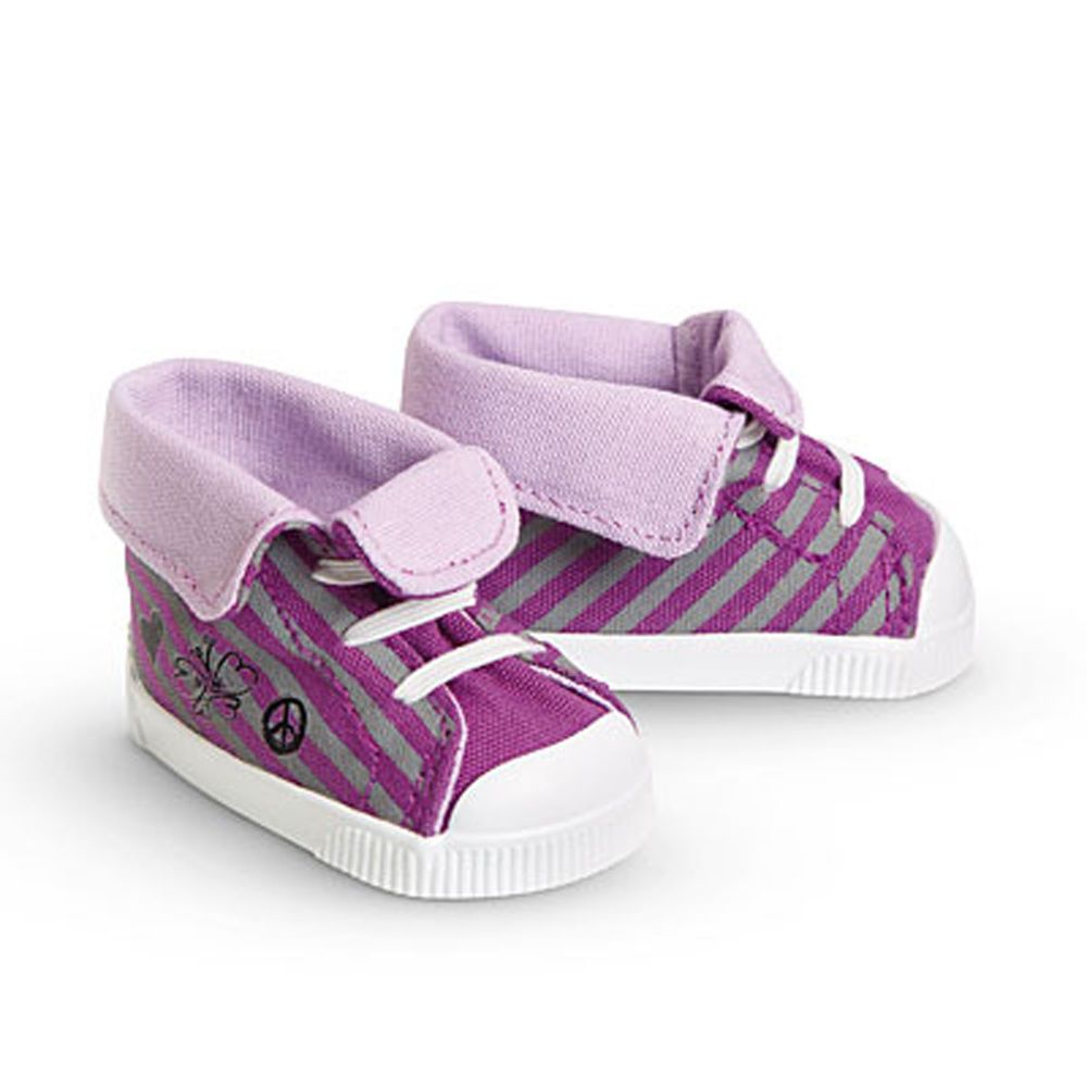 """Lavender Purple Sneakers Tennis Shoes w//Laces fit 18/"""" American Girl Size Doll"""