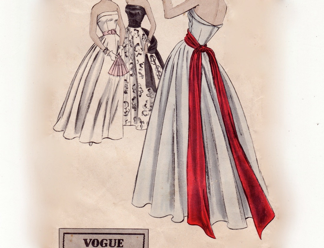 Vintage 50s Sewing Pattern - Strapless Floor Length Evening Dress ...