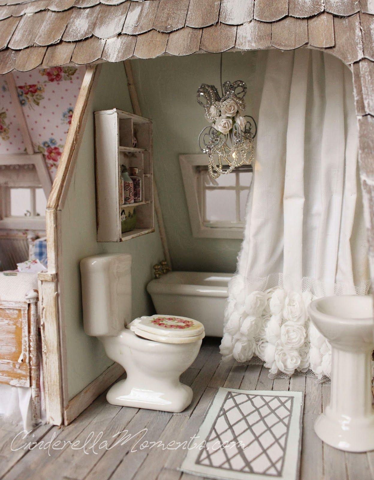 Mini Bathroom Beautiful Chandelier Ruffled Curtain