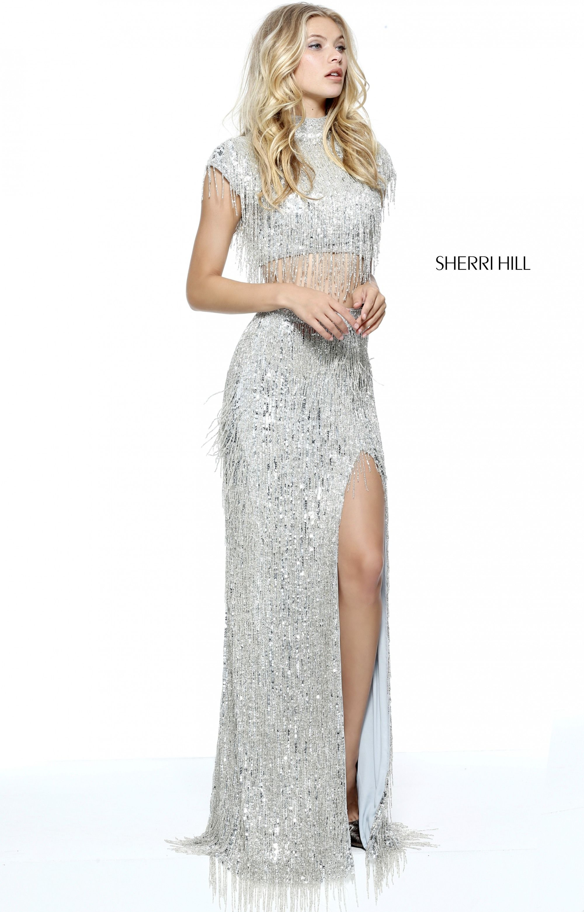 6ed4bf18c5e Beaded fringe adorns this Sherri Hill 51220 two-piece prom dress ...