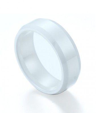 Polished Shiny Hi Tech White Ceramic Wedding Band Beveled Edges Tungsten Wedding Rings Ceramic Wedding Bands Wedding Ring Bands