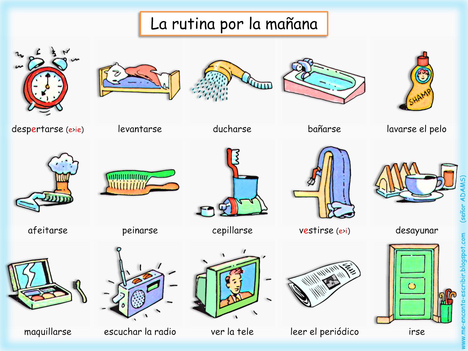 Me Encanta Escribir En Espanol La Rutina Por La Manana