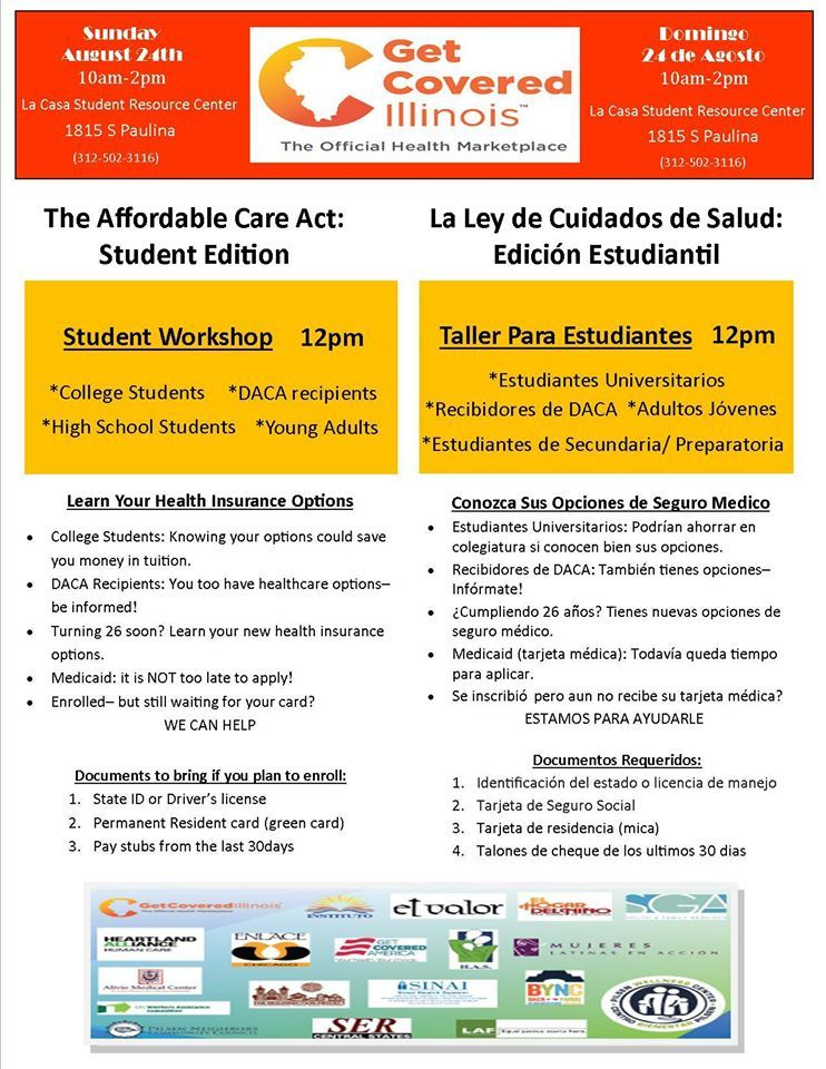 8 24 Affordable Care Act Workshop For Students See Flyer For Details Student Resources Student Community Events