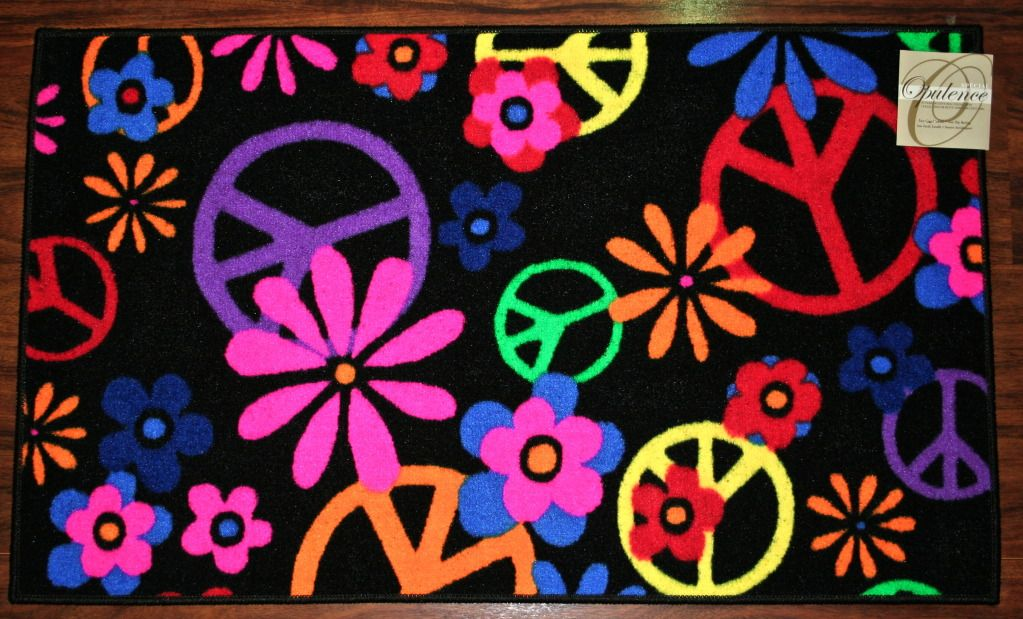 Charming Peace Sign Rugs 2x3 Signs Flowers Black Colors Kids Mat
