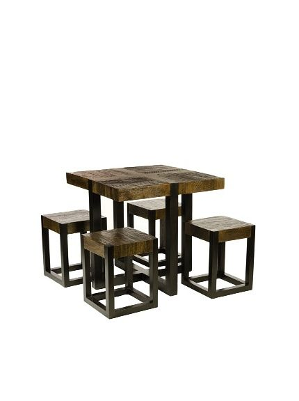 Foreign Affairs Rustic Square Dining Table With Four Stools