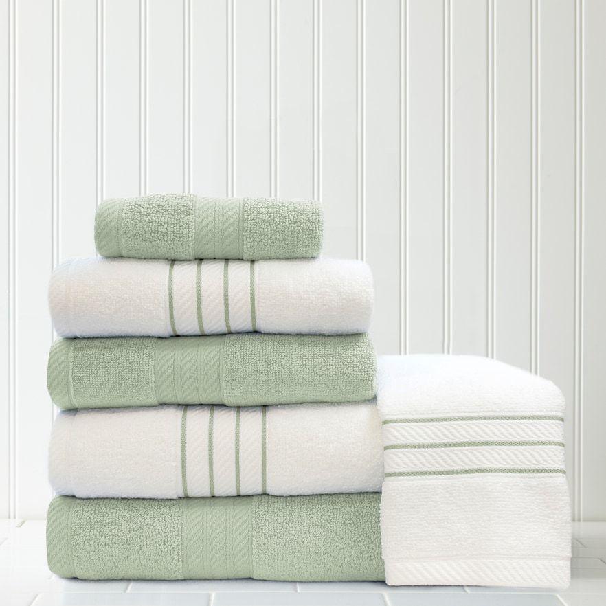 Quick Dry 6 Piece Stripe Contrast Bath Towel Set Green Towel Set Towel