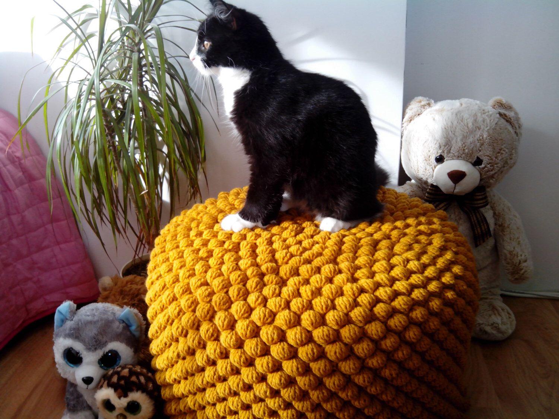 Crochet mustard/yellow round stuffed pouf - ottoman / Knit wool ...
