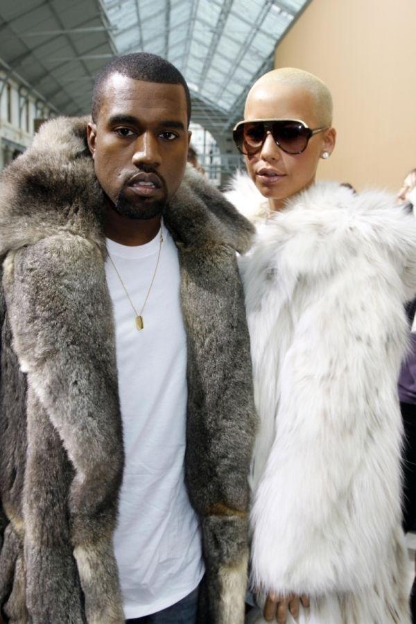 Celebrities In Fur Fashion Kanye And Amber Rose Fur Fashion