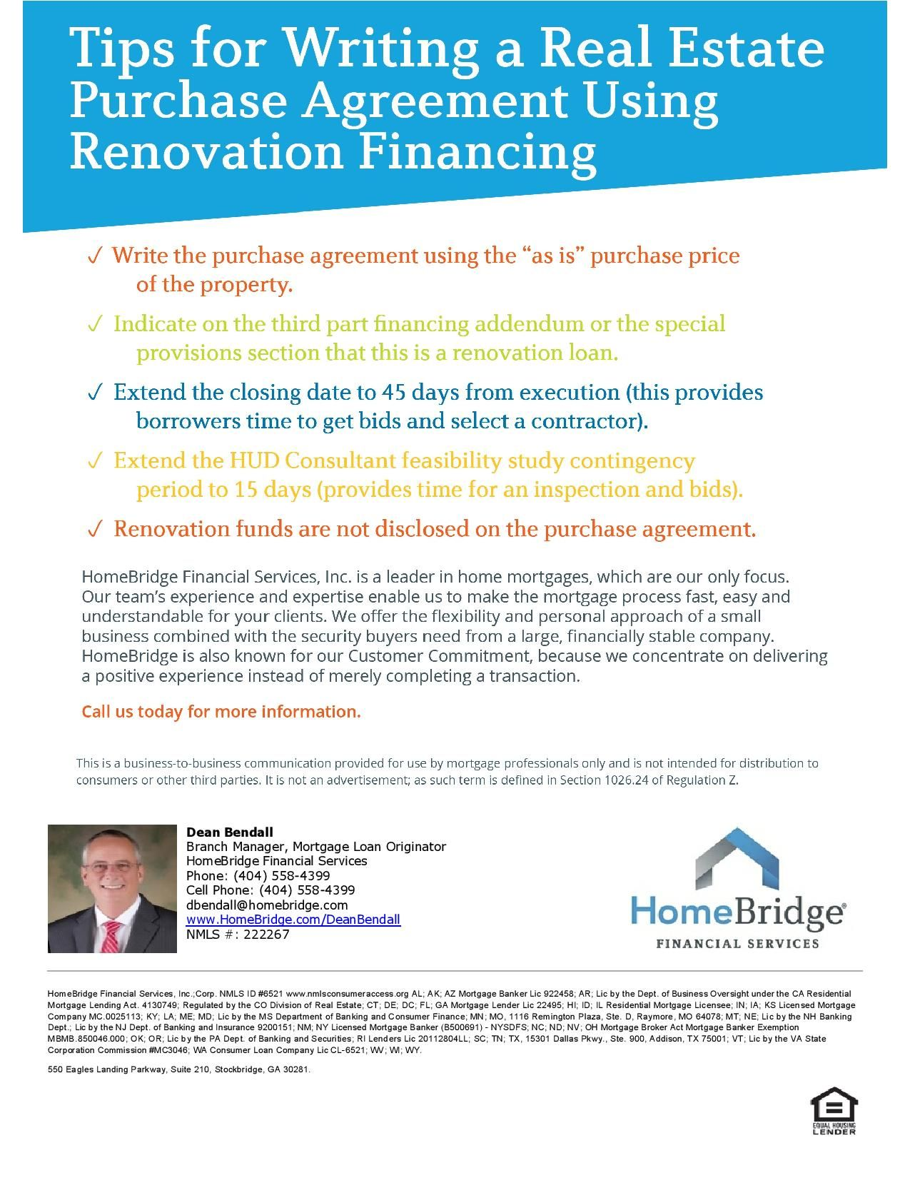 How To Write A Purchase Agreement For Renovation Financing