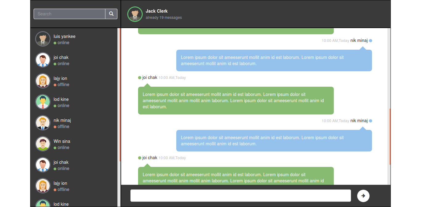 Bootstrap Full Screen Chat Page Design In Html And Css Page Design Full Screen Css
