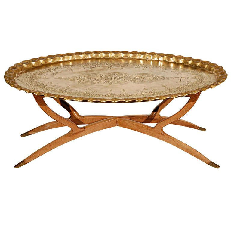 Brass Tray Table On Folding Spider Wooden Stand