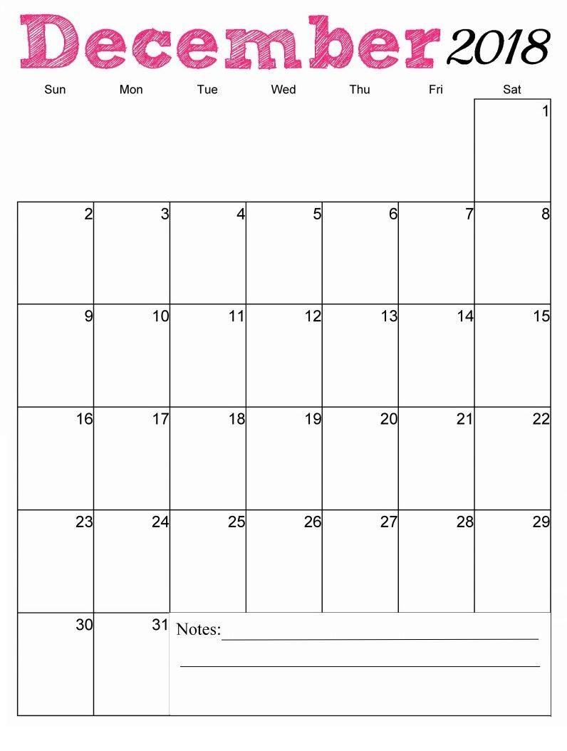 December 2018 Calendar Calendar Custom Calendar Hello December