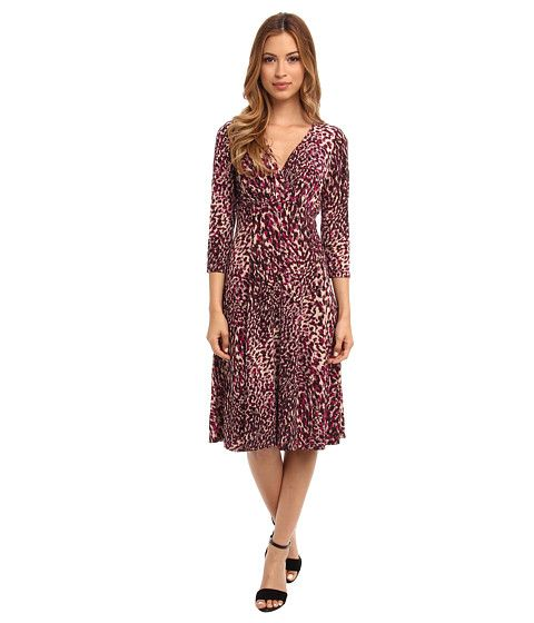 London Times Animal Print 34 Sleeve Fit & Flare Dress