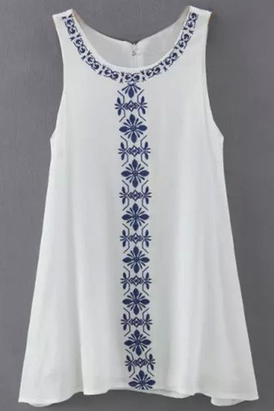 c24bbbd1145f Floral Embroidery Print Sleeveless Loose Fit Dress - OASAP.com
