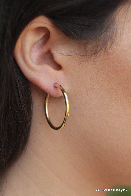 28e368e9b Gold Hoop Earrings, 14K Gold filled circle Hoops, 28mm Medium gold hoop  earring,