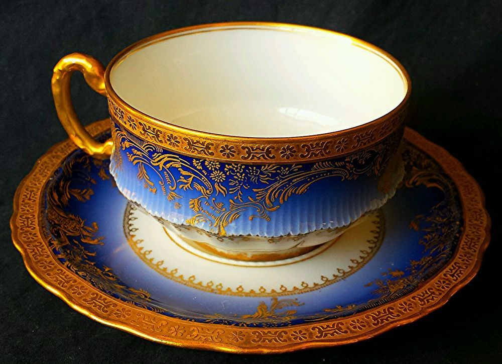 Exquisite Special Theodore Haviland Limoges Cup Saucer Cobalt Gold Mint | eBay