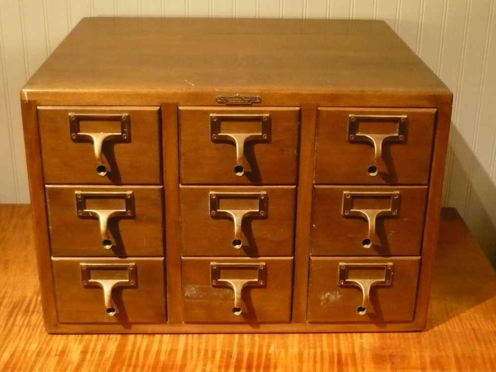 Vintage 9 Drawer Library Card Catalog File Remington Rand Library ...
