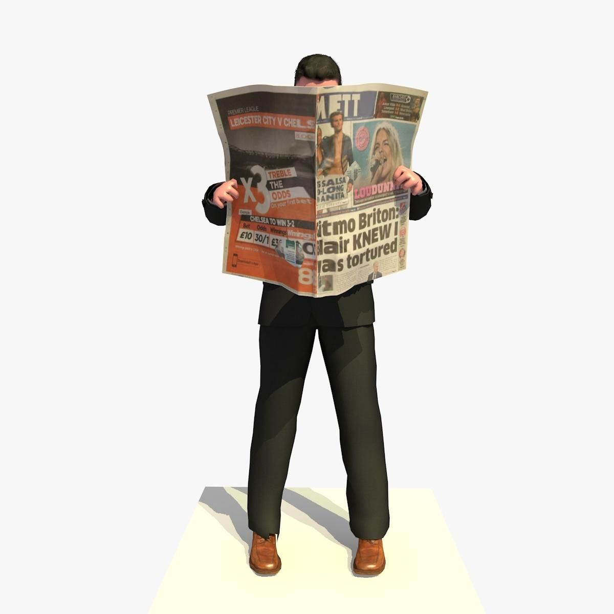 Bugatti Veyron Grand Sport World Record Edition 2011 3d: Animated Business Man Reading A Newspaper Standing
