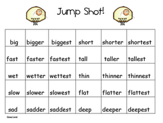 Jump Shot Game -comparative words with er and est endings ...