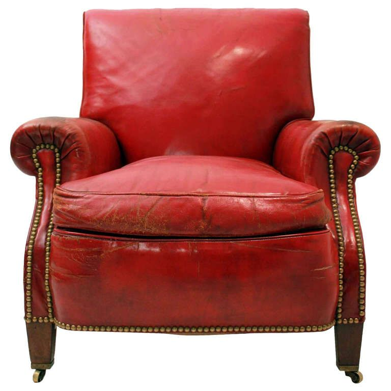 Red Leather Club Chair | 1stdibs.com