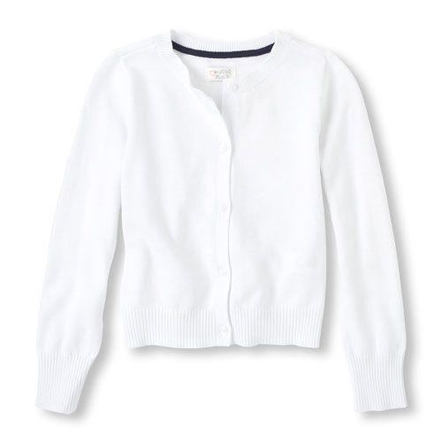 ebaf84df Girls Button-Front Crew-Neck Cardigan - White - The Children's Place ...