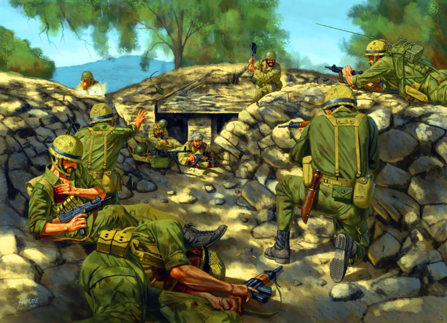 Israeli Infantry Storming Golan Heights Six Days War
