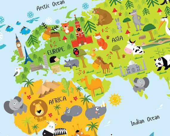 World map for kids instant download nursery decor high world map for kids instant download nursery decor by pictureta sciox Images