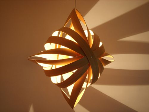 Toshiyuki tani shuriken ninjastar lamp via kozai designs wood and paper lamps from japan