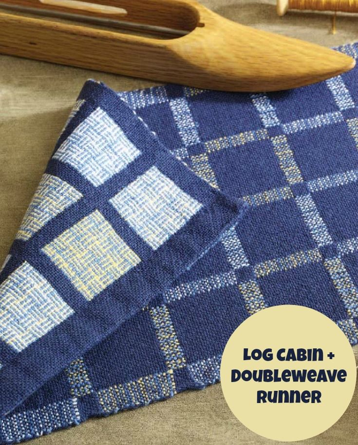 The joys of log cabin are more than doubled when you use doubleweave to box in windows of log cabin. Get the free 8-shaft weaving project here!