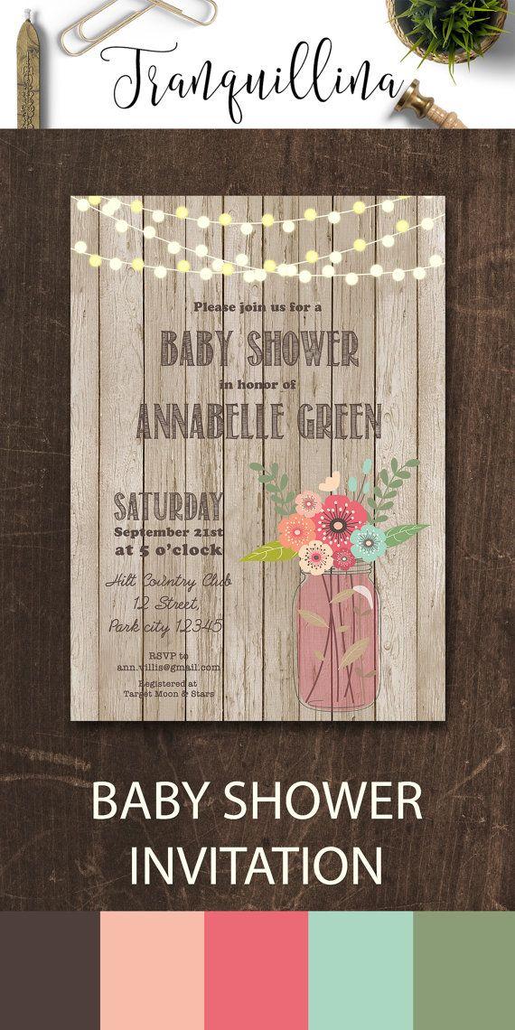 Mason Jar Baby Shower Invitation, Rustic Baby Shower Invitation ...