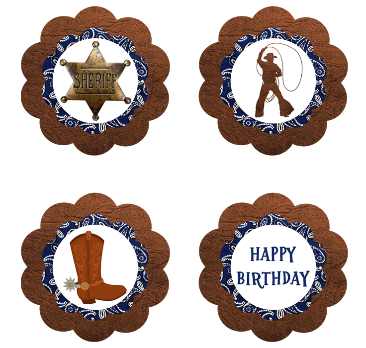 Cowboy Cupcake Toppers - FREE PDF Download   Ideas cumpleaños ...